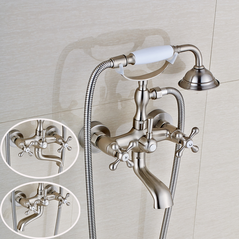 Contemporary Style Bathroom Tub Faucet Double Handles Mixer Tap Solid Brass Nickel Brushed