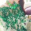 2016 de Primavera y Verano de Las Mujeres Más Tamaño Blusa Atractiva Ahueca Hacia Fuera Patchwork Floral Loose Suave de Moda Blusas Blusas Femininas 1013