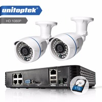 UNITOPTEK 4CH POE 1080P NVR System Kit 2PCS 2MP POE Metal Camera HDMI 1080P Outdoor CCTV