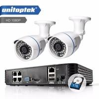 UNITOPTEK 4CH POE 1080P NVR System Kit 2PCS 2MP POE Metal Camera HDMI 1080P Outdoor CCTV