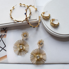 Gold Metal Colorful Acrylic Stones Sunflower Minimalism Minimalist Hoop Earring Summer Korean Fashion Women Bridal Party Jewelry