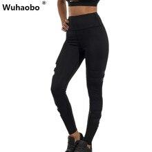 Wuhaobo Fashion Elastic Women Fitness Leggings Mid Waist Hip Push Up Workout Pants Patchwork Skinny Zipper Bottoms 2017