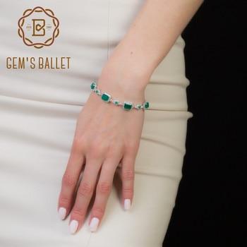 Gem's Ballet 10.04Ct Gemstone Fashion Natural Green Agate Bracelets For Women 925 Sterling Silver Bangles Fine Jewelry