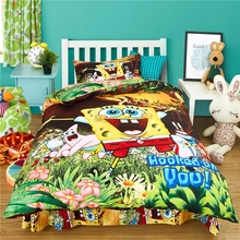 Cartoon 3d Spongebob Bedding Set Polyester/Cotton Bedclothes 2/3pcs Single Twin Full Duvet Cover Bed Sheet Pillowcase for Kids