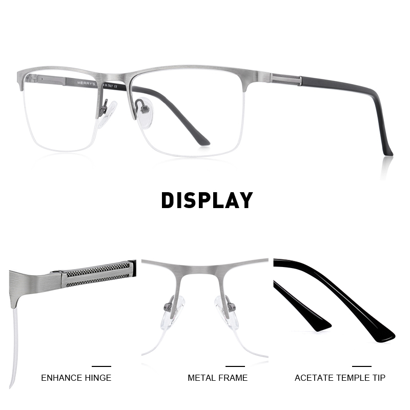 Image 2 - MERRYS DESIGN Men Titanium Alloy Glasses Frame Male Square Ultralight Eye Myopia Prescription Eyeglasses Male Half Optical S2031Mens Eyewear Frames   -