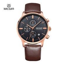 Мода Простой стильный Топ Люксовый бренд MEGIR Часы мужчины ремень Из Натуральной Кожи группа Кварцевые часы тонкий Наберите Часы человек 2011