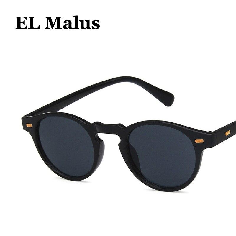 [EL Malus] rétro petit cadre ovale lunettes de soleil hommes femmes vert foncé lentille miroir Vintage léopard nuances marque Designer lunettes de soleil