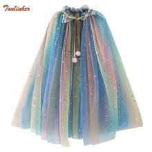 Rainbow Rench Cloak Coat Children Unicorn Elsa Anna Cinderella Rapunzel Costumes Girls Accessory Kids Mantle Cape Jacket 3-10