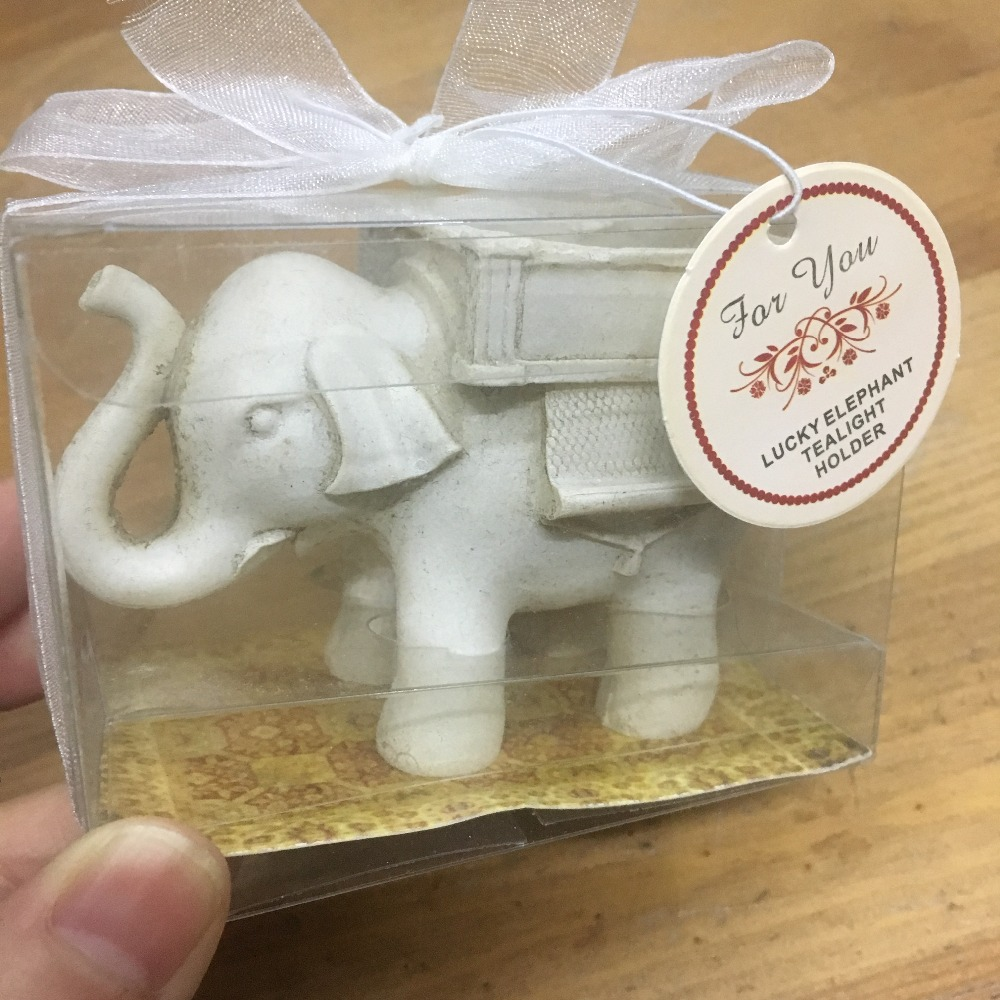 Us 1550 Personalised 50 Pcs Lot Baby Shower Anniversary Return Gifts Resin Lucky Ivory Elephant Tealight Candle Holders For Wedding In Party Favors