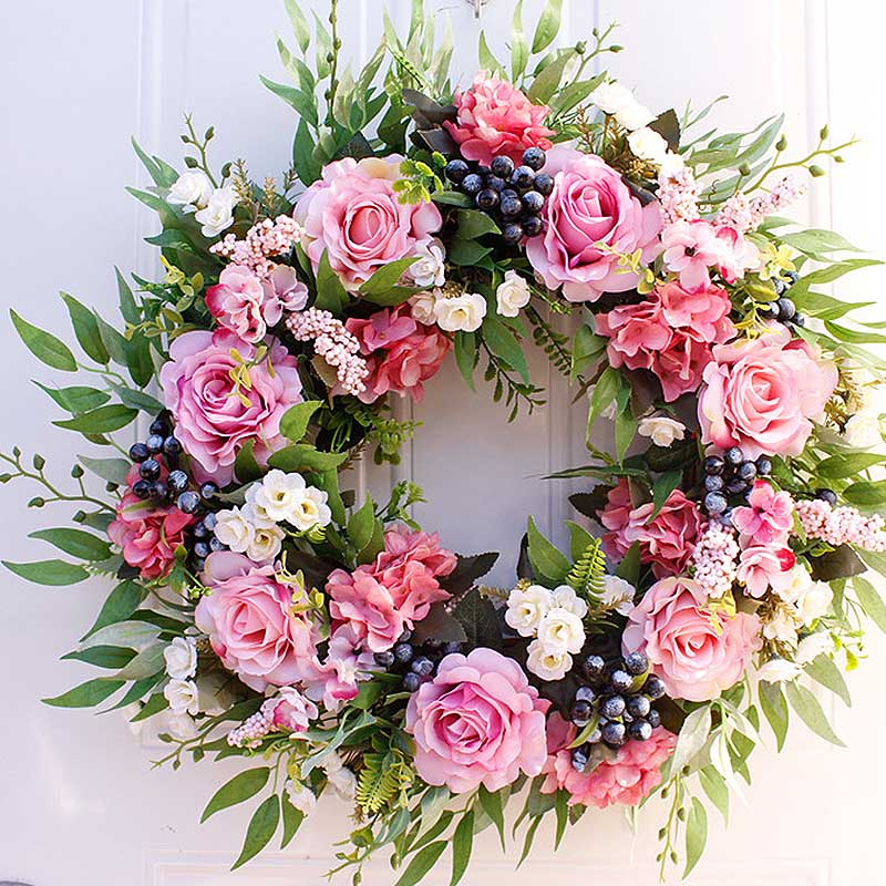 56cm Artificial Rose Flower Wreath Home Garden Wall Centerpiece Window Front Door Hanging Fake Flower Garland Wedding Decoration