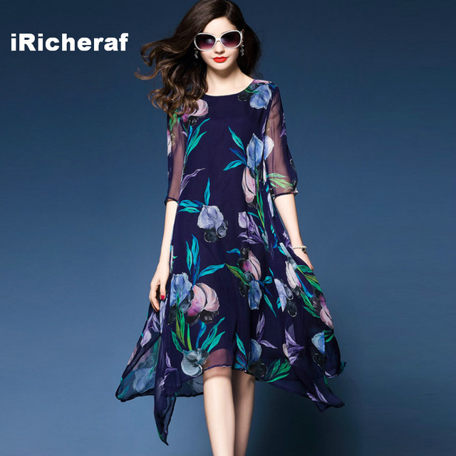 iRicheraf Fashion Long Floral Printed Chiffon Dress A-line Three-quarter  Sleeve Summer Midi Dresses Plus Size Women Clothing 3XL 7ee4b3ca6