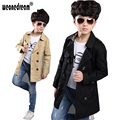 Boy Trench Coat New 2017 Long Sleeve Outerwear Kids Windbreaker Boys Children Trench Coat Black and Khaki Outerwear 4-16Y