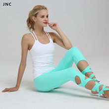 High Waist Bandage Yoga Pants For Women Elastic Workout Tights Turnout Fitness Trousers Ballet Dance Leggings 2 Color