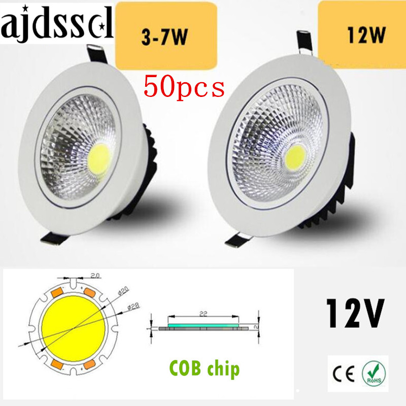 50PCS/lot Super Bright Recessed <font><b>LED</b></font> Dimmable Downlight COB 3W <font><b>5W</b></font> 7W 12W <font><b>LED</b></font> <font><b>Spot</b></font> light <font><b>LED</b></font> decoration Ceiling Lamp AC/DC <font><b>12V</b></font> image