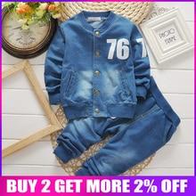 BibiCola baby boys clothing set infant boys clothes denim Long sleeve t-shirt +pants 2PCS kids casual suit children tracksuit