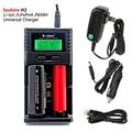 100% original soshine h2 digcharger carregador de bateria lcd carregador universal com carregador de carro para 26650 18650 bateria