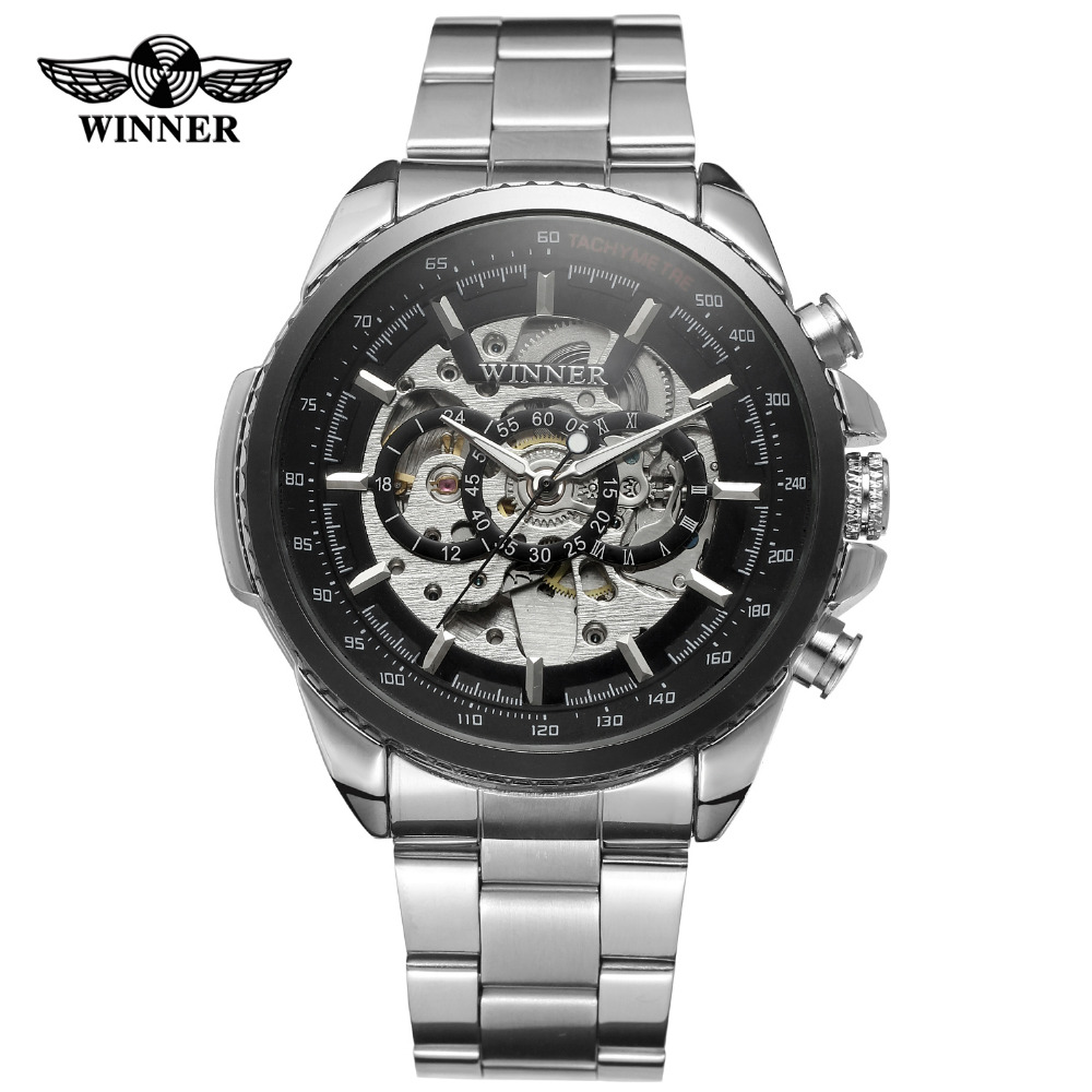 цена на New  Luxury Skeleton Winner Automatic for Men  Watch Factory Stainless Steel Wristwatch WRG8053M4T2