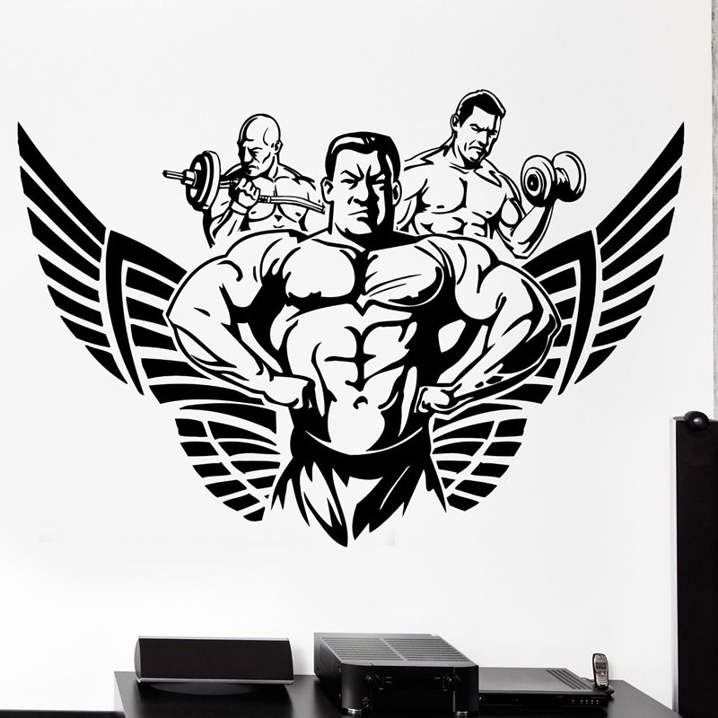 Gym Sticker Fitness Decal Bodybuilding Wing Posters Name Muscle Vinyl Wall Parede Decor 19 Color Choose