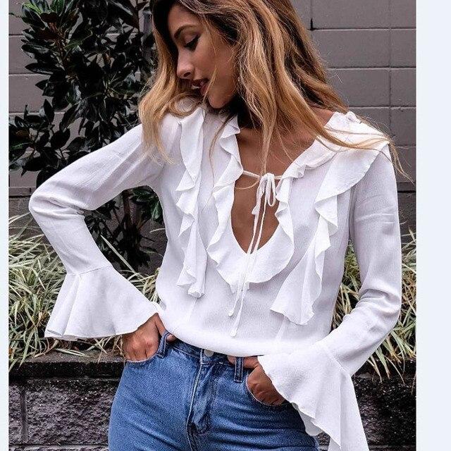 6d5bba886b2be NuoJin Sexy Babados Blusa Mulheres Camisa Chiffon de Manga Comprida Branca  Profunda V Neck Lace Up