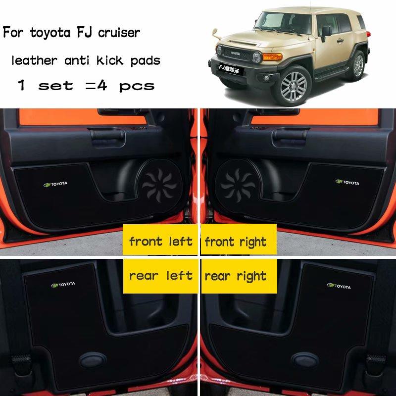4pcs Leather Car-Styling Anti Kick Pad Anti-dity Door Mat Accessories For Toyota FJ CRUISER 2010 2011 2012 2013 2014 2015 2016