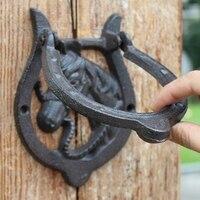 Cast Iron Door Knocker Horse Head with Handle Western Cowboy Horseshoe Door Latch Metal Home Door Gate Decor Vintage Crafts