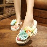 Богемия цветы женские шлепанцы Пляжные сланцы Обувь Летний стиль Направляющие скольжению Шлёпанцы для женщин женская обувь на платформе