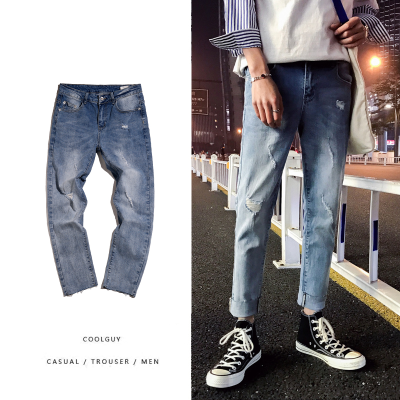 2018 fashion The New listing Pattern Spring Summer Man Holes A Bit Jeans Tide Amount Will Liberally Favourite Free shipping