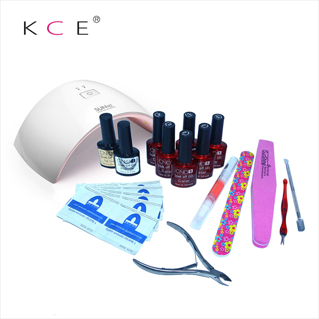 KCE in  24W Professional UV LED Lamp of Resurrection Nail Tools and Portable Package Five 10 ml Soaked UV Glue Gel Nail Polish