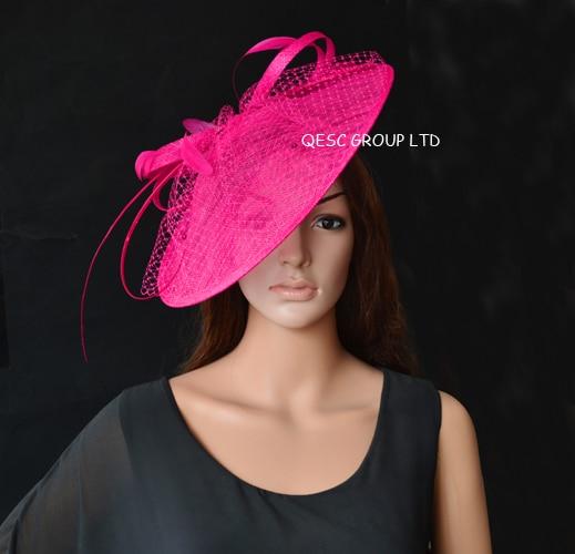 NEW Wholesale Elegant 17 colours Hot pink fuchsia Big Sinamay fascinator hat