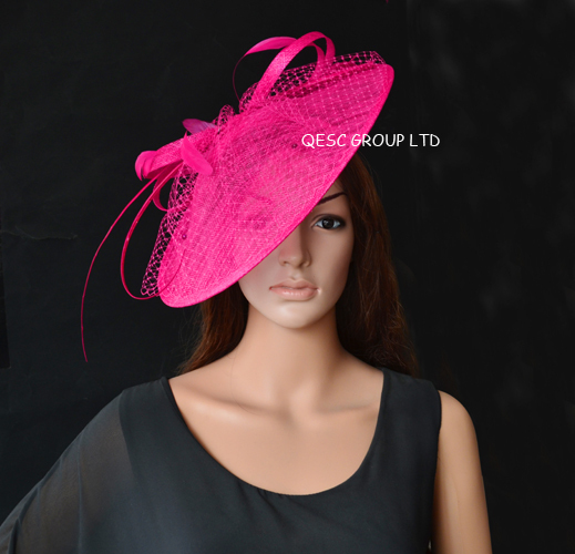 新しい卸売エレガントな 17 色ホットピンクフクシアビッグ Sinamay 魅惑的な帽子。  グループ上の アパレル アクセサリー からの レディースヘアアクセサリー の中 1