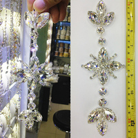 Sewing On Crystal Stones Silver Base Clear Rhinestone Applique For Wedding Dress Decorative