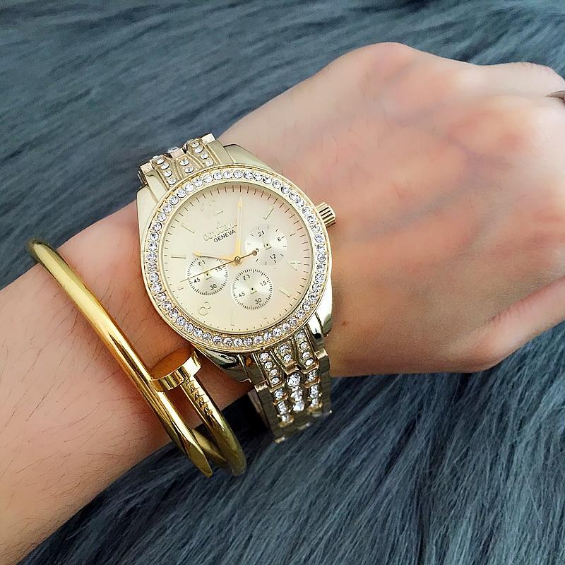 CONTENA Brand Luxury Rhinestone Bracelet Watch Women Fashion Gold Watches Full Steel Quartz Watch Hour montre homme reloj mujer