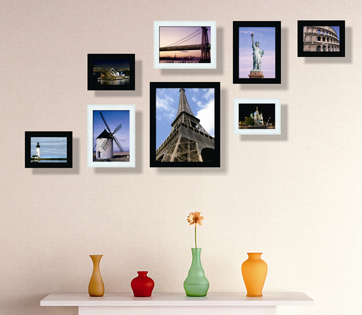 Buy wall photo frame set of 8pcs home decoration picture frames modern home Home decoration photo frames