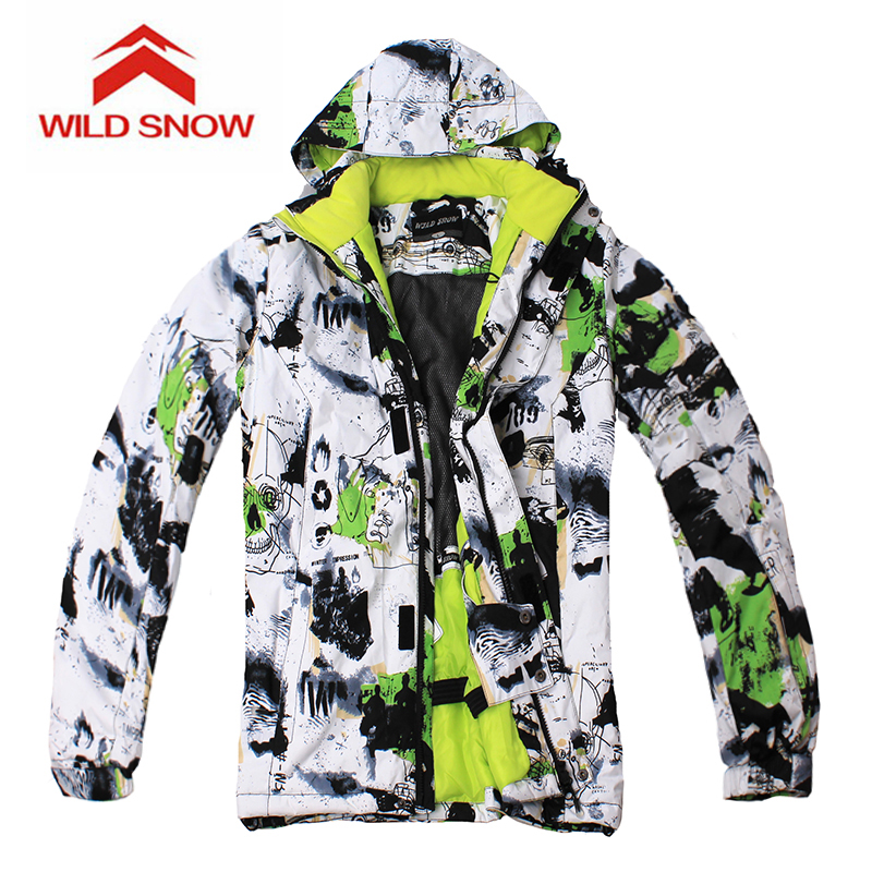 Wild Snow Brand Ink Painting Ski Jackets men windproof warm coat male waterproof snowboard jacket Outdoor sport clothing winter lurker shark skin soft shell v4 military tactical jacket men waterproof windproof warm coat camouflage hooded camo army clothing