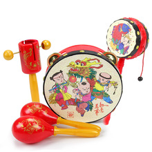 Chinese style Baby toys dumbbell Musical drum cartoon toys sand egg Maracas bell drum rattle toys,Baby's best gift