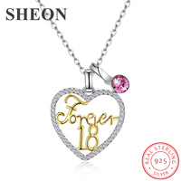 Hot sale 925 Sterling Silver Austria Crystal love heart Forever18 Pendant Necklaces fashion Jewelry for women gifts dropshipping