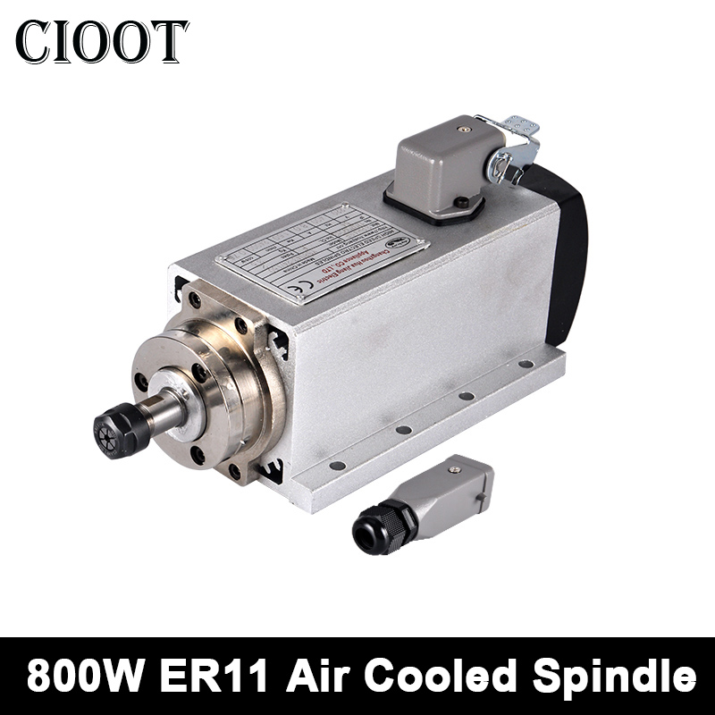 Air Cooled Spindle Motor 800W Square Motor 110V/220V CNC Spindle ER11 Router Tools For Milling Machine With 4 Bearings 1 5 kw cnc spindle motor air cooled spindle motor er11 for cnc engraving milling grind 220v ac 65x204mm 4 pcs bearings