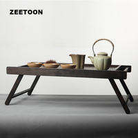 Japanese Style Solid Wood Bamboo Weaving Coffee Table Vintage Folding Tea Tray Storage Computer PC Desk