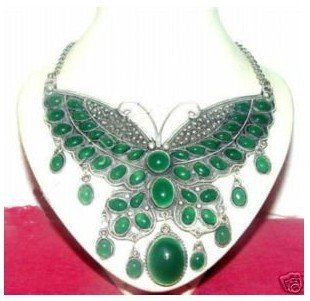 Beautiful tibet Silver green gem Large butterfly pendant Necklace Halskette natural Women's Silver hook wholesale