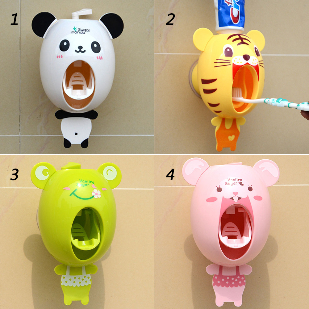 Pig bathroom accessories -  Cartoon Panda Tiger Pig Frog Automatic Toothpaste Squeezer Dispenser With Suction Cup Novelty