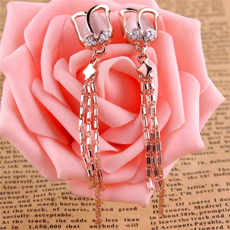 Grace Jun High Quality Long Rose Flower Shape Tassel  Clip on - Fashion Jewelry - Photo 6