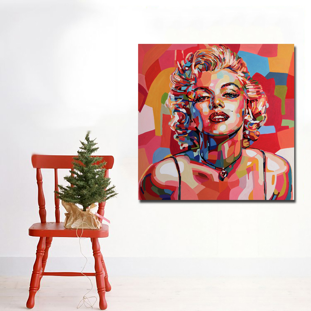 Sexy Red Marilyn Monroe Canvas Art Print and Poster Portrait Oil Painting Modern Canvas Painting Printed Wall Decor For Bedroom