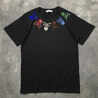 New Novelty 2019 Men Diamond Color skull Bone T Shirts T Shirt Hip Hop Skateboard Street Cotton T Shirts Tee Top Kenye #13