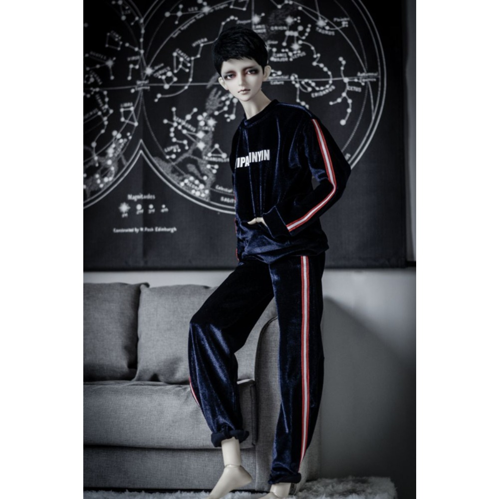 BJD Royal Blue Velvet Suit Coat Pants Hoody Outfits Clothing For Male 1 3 24 SD