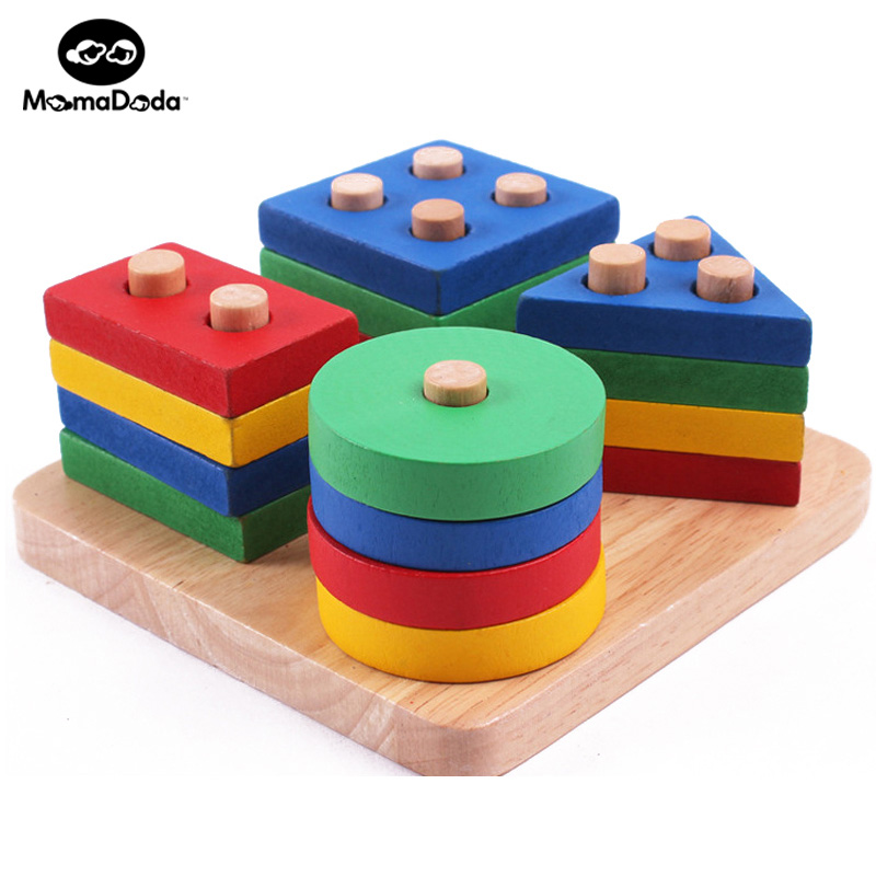 Wooden Educational Toys : Wooden montessori math geometry shape cognitive building