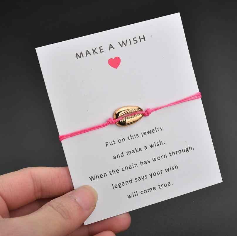 Yiustar 2019 مجوهرات رومانسية الصدف أساور النساء الملونة ارييل صوت قذيفة حبل سوار السحر pulsera roja بيجو