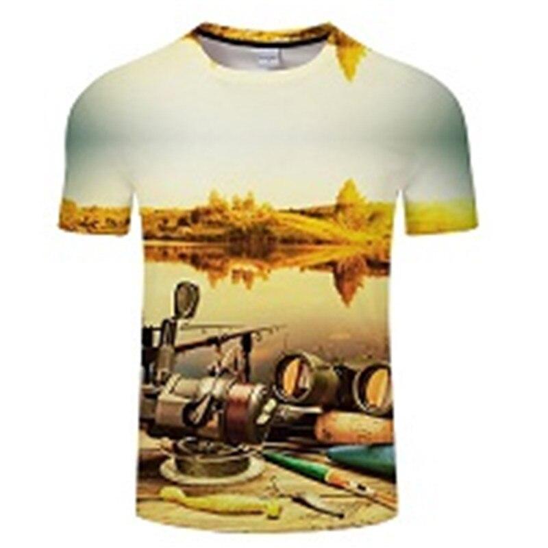 Новая футболка для рыбалки, стильная повседневная футболка с цифровым 3D принтом рыбы, мужская и женская футболка, летняя футболка с коротким рукавом и круглым вырезом, Топы И Футболки S-6XL - Цвет: TXKH440