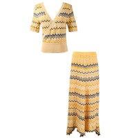 Runway Design Lolita Striped Suit Hole 2019 New Summer 2 Piece Set Women Suit Skirt Crop Top Fashion Outfits Hollow Out Knit Set
