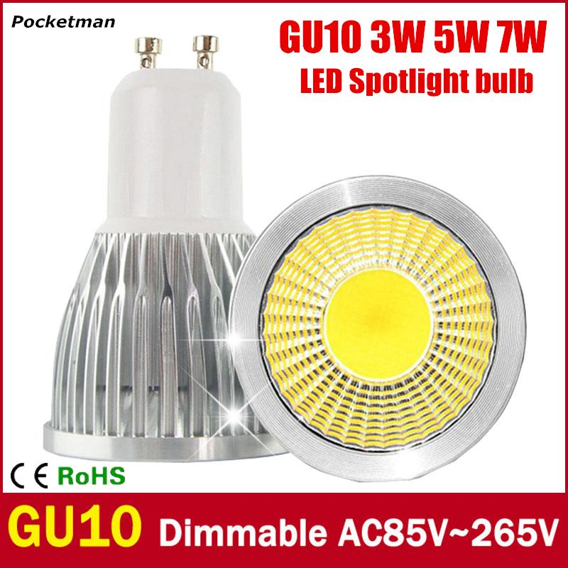 Super Bright GU10 LED Bulb 3W 5W 7W LED lamp light GU10 COB Dimmable GU 10 led Spotlight Warm/Cold White Free shipping 5w 7w cob led e27 cob ac100 240v led glass cup light bulb led spot light bulb lamp white warm white nature white bulb lamp
