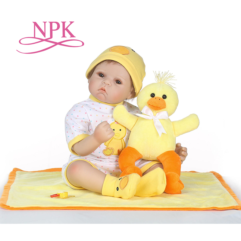 NPK 18 bebe gift doll reborn Silicone Reborn babies With Cotton Body Dressed in Nice Sweater Lifelike newborn babies girls toys платья dressed in green платье